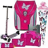 Mariposa - Schmetterling - Butterfly - DerDieDas ErgoFlex MAX Schulranzen-Set 7tlg. mit SCHULTÜTE - BALANCE-SCOOTER mit Leucht-Rädern GRATIS DAZU