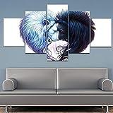 Prints Lienzo artístico de 5 paneles/set de pintura decorativa de pared con dos leones, de amor, lienzo de pared, imágenes de animales para sala de estar sin marco (tamaño: 30 x 40 x 30 x 80 cm)
