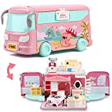 ArgoHome Dollhouse Playset, DIY Pretend Portable Caravan Camper Bus Toy Kit , Portable House Dollhouses Toy Gift Set with Koala, for 3 4 5 6 7 8 Year Old Girl Boys Kids.