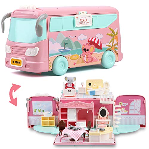 ArgoHome Dollhouse Playset, DIY Pretend Portable Caravan Camper Bus Toy Kit with Little Critters Bunny Dolls Mini Cottage House Set Camping Family Toys for Toddler 3 4 5 6 7 Year Old Girl