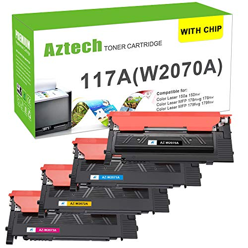 (Mit Chip) Aztech Kompatibel 117A Toner Cartridge Replacement für HP 117A W2070A W2071A W2072A W2073A für HP MFP 179fwg 178nwg Toner HP 150a 150nw Toner HP Color Laser MFP 179fnw HP MFP 178nwg 178nw