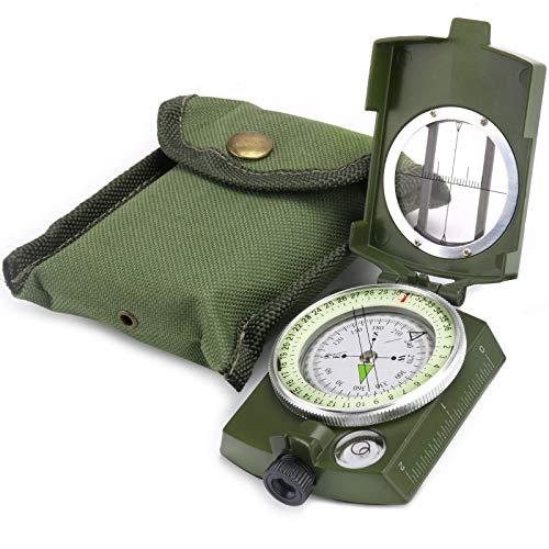 YEHOBU Survival Compass, Military Compass Hiking, Orienteering Lensatic Compass, Waterproof Navigation Compasses, Survival Emergency Luminous Sighting Compass (Green)