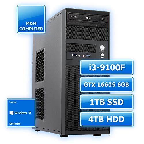 M&M Computer Dresden PC, Intel Core i3-9100F 4 Kerne, GTX1660 Super 6GB Gamer, 1TB SSD Festplatte, 4TB HD, 8GB DDR4 RAM, MS-Windows 10 Home, Multimedia, Home & Office