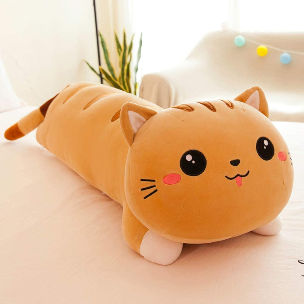 seemehappy Cute Cartoon Max 47% OFF Cat Soft Pillow Lifelik Plush Throw Long Clearance SALE Limited time
