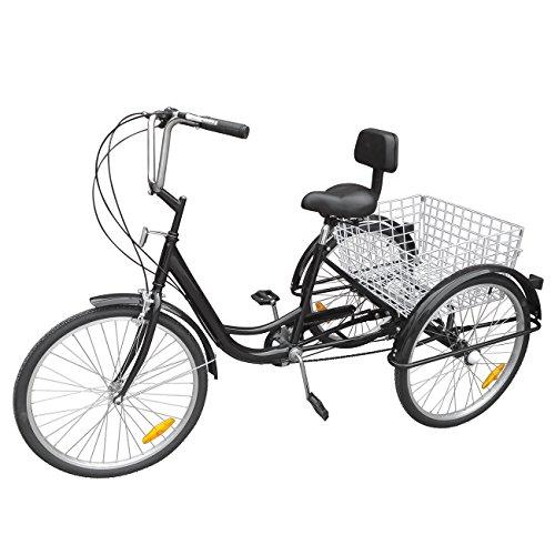 "Ridgeyard triciclo adulto 24 ""6 velocidades bicicleta 3 ruedas adulto con Cesta"