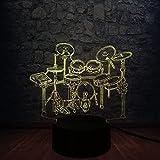 Luces de bicicleta LED Luz nocturna 3D Instrumento musical Jazz Drum Set Luz nocturna LED 3D Luminaria Ilusión Lámpara degradada multicolor Lampara Aficionados a la música Regalo para niños con c