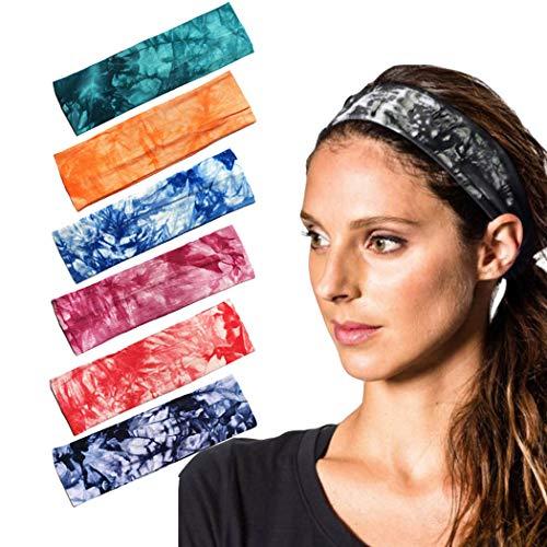 Sethain Mode Bandeau sport Bande de transpiration tie-dye Bandeau extensible Bandeau de course 6 paquets Pour femmes et filles