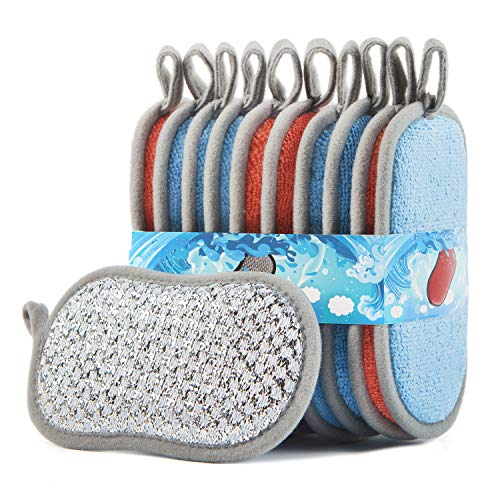 Non-Scratch Microfiber Sponges Kitchen 10 Pack Multi-Purpose Scrub Sponges for Dishes Durable Dish Scrubber with Heavy Duty Scouring Power & Effortless Cleaning