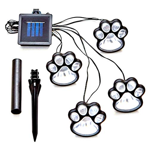 LED Paw Print Garden Lights, 4-Paw Solar Cute Dog Cat Animal Paw Decor Lights Home Garden LED Walkway Path Lamp...