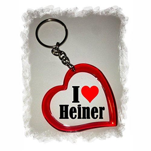 """EXCLUSIVO: Llavero del corazón """"I Love Heiner"""" , una gran idea para un regalo para su pareja, familiares y muchos más! - socios remolques, encantos encantos mochila, bolso, encantos del amor, te, amigos, amantes del amor, accesorio, Amo, Made in Germany."""