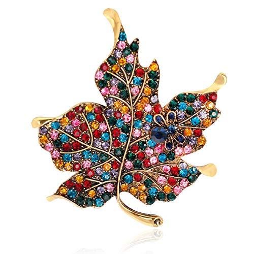 nbvmngjhjlkjlUK Hermoso Broche de Hoja de Arce de aleación Chapado en Diamantes de imitación Broche de Hoja de Arce Ropa decoración Regalo para Mujeres