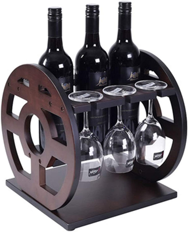 barato Botelleros Decoración de estantes para Vino Estante Estante Estante de Madera sólida Estante de Vino Europeo Creativo Salón Moderno Hogar Retro Botella Rack (Color   marrón, Talla   29  29  30cm)  oferta especial