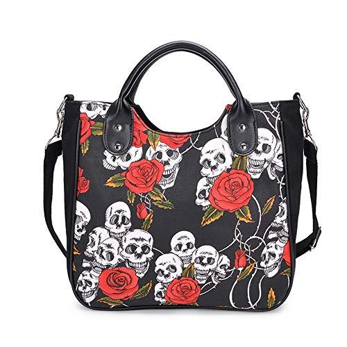 Chikencall Cartoon Skull and Roses Shoulder Bag for Women Canvas Handbag Gothic Punk Tote Crossbody Bag