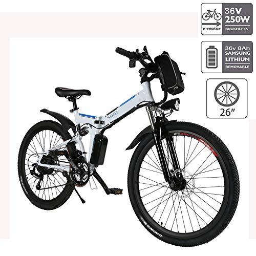 """Hiriyt E-Bike Mountainbike, 250W, 36V, Rücken 7-Gang Getriebesystem Faltrad Fahrrad, Große Kapazität Pedelec mit Lithium-Akku und Ladegerät (Weiß,26\"""")"""