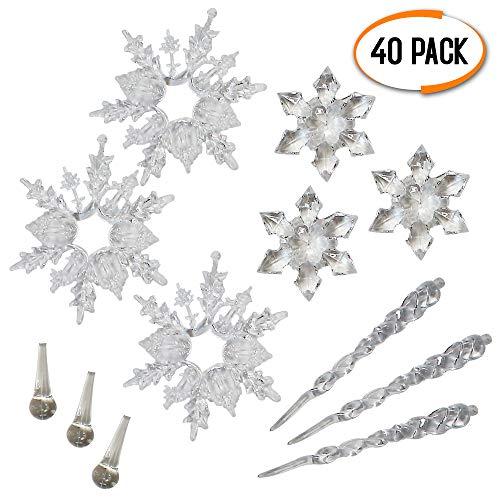 THE TWIDDLERS 40 Decorazioni Natalizie - Includono Fiocchi di Neve, stalattiti, Gocce d'Acqua - Decorazioni Perfetti da Appendere su Alberi di Natale Bianco o finestre