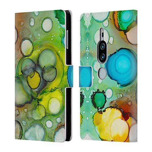 Head Case Designs Oficial Haroulita Pintura Alcohol 3 Lush Jungle Tinta Carcasa de Cuero Tipo Libro Compatible con Sony Xperia XZ2 Premium