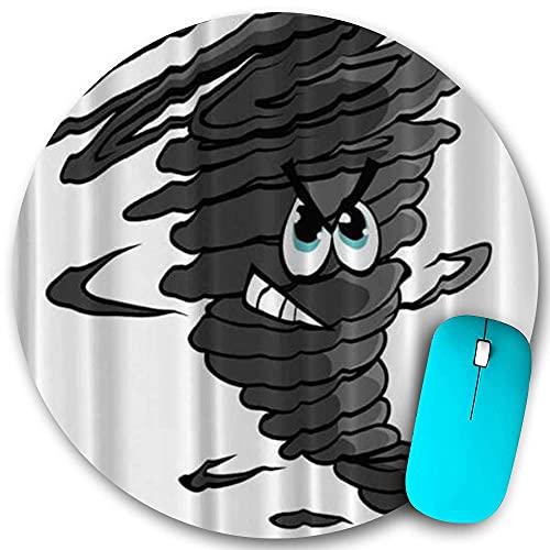 Rundes Mauspad, Cartoon-Tornado-Trichter mit Staubwolke Blaugrün, rutschfeste Gummibasis Office Home-Mauspads Klein 7,9 x 7,9 in Gaming Mousemate