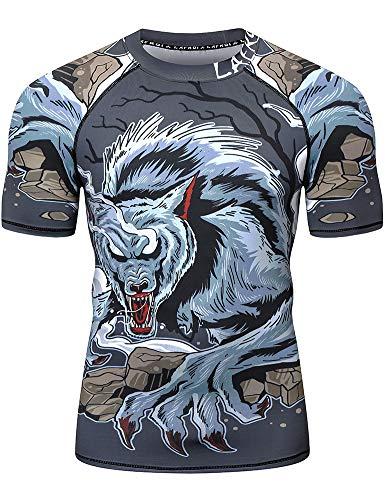LAFROI Men's Short Sleeve UPF 50+ Baselayer Performance Compression Shirt Rash Guard-CLY08 Werewolf Size XL