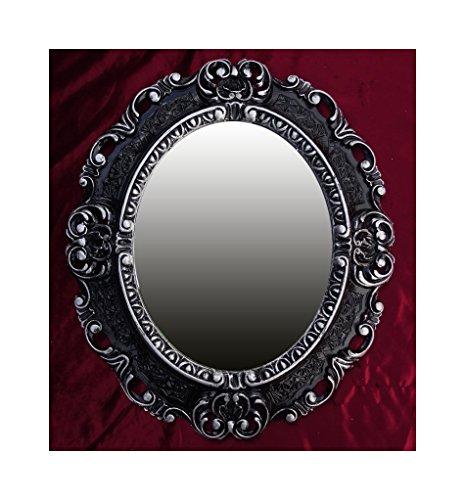Lnxp WANDSPIEGEL Spiegel Oval in Schwarz Silber Dualcolor REPRO 45x38 Antik Barock Rokoko REPLIKATE...