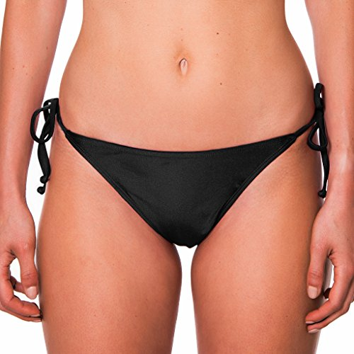 RELLECIGA Damen Bademode Bikinihose Tanga-Unterteil mit Schnürchen Schwarz M/L