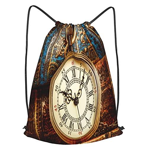 AndrewTop Bolsa Cuerdas con cordón impermeable Unisex,Reloj de bolsillo antiguo vintage en el fondo de libros antiguos,LigeroCasual ,Deporte Gimnasio Mochilas
