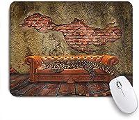 NINEHASA 可愛いマウスパッド ファンタジーデカダンスグランジ廃墟レンガの壁とソファシュールアートの巨大なトカゲ ノンスリップゴムバッキングコンピューターマウスパッドノートブックマウスマット
