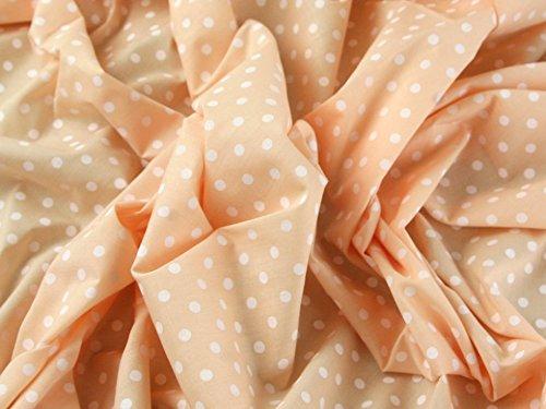 1FAT cuarto   melocotón tela de polialgodón con lunares blanco Color Pastel calidad 5mm de lunares japonés QKT 4000polialgodón MATERIAL Pastel luz pálido color naranja color costura camisas ropa CR
