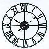 LJJYF Reloj de Pared Redondo de Hierro Forjado Hueco, Reloj de Pared silencioso @ Black_80cm