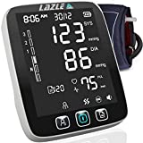 LAZLE Blood Pressure Monitor: Automatic Upper Arm Machine & Digital BP Cuff Kit - Largest Display - 200 Sets Memory, Includes Batteries, Nice Carrying Case