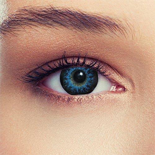 Lenti a Contatto Colorate Blu per Cosplay Occhio Grande Senza diottrie + Gratis Caso di Lenti Modello High Intensive Blue
