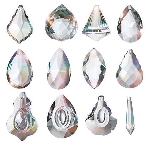 Kristall Glas Prisma Anhänger Transparent (12er Pack) - 44mm - 53mm Kristalle zum Aufhängen Kronleuchter Feng Shui Sonnenfänger Lichtbrecher Kristall Prisma aus Glas für Lampen, Kristalle Dekoration