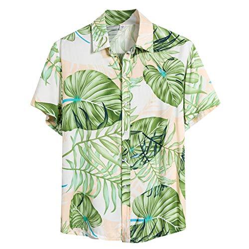 Herren Vintage Hemd Kurzarm Hawaiihemd Baumwoll Herren Hemd Standard-fit Short-Sleeve 100{260a7a886e2ebd0efdda333b73e11f77e2d0c36c39a662e30391b7223de3ab97} Cotton Hawaiian Shirt für Reise Strand L, 3XL Grün (t-Shirt 4XL Herren, faschingskostüme männer)