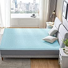 RECCI 2.5-Inch Egg Crate Mattress Topper Queen, Pressure Relief Memory Foam Mattress Topper for Back Pain, Gel Infused Mattress Topper, Cooling & Breathable, CertiPUR-US Certified, Queen Size