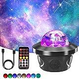 Proyector de cielo estrellado, Proyector de luz nocturna con Ocean Wave Moon y Star Galaxy, Lámpara Proyector con Rotación y Música Temporización y Remoto Bluetooth, para fiestas infantiles