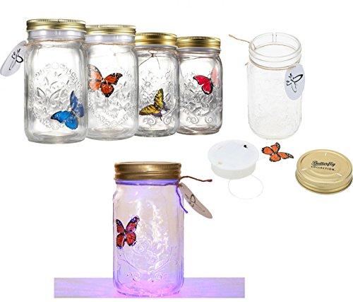 Mariposa en un tarro LED lámpara mariposa tarro electrónico mariposa en un tarro romántico cristal luz niños regalo decoración presente HTUK®