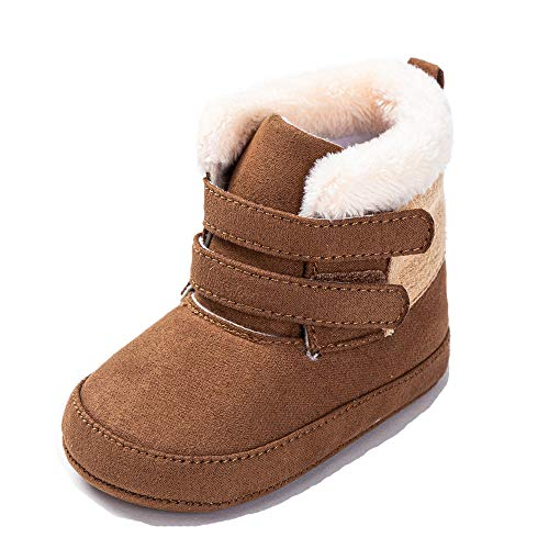 Csfry Baby Boys Snow Boots Winter Warm Non-Slip Shoes Brown