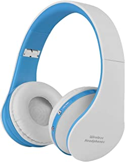 Foldable Wireless Bluetooth 4.0 Headset Stereo Headphone Head Mounted Earphone T(Blue and white)