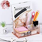 Eleckey Rose Gold Desk Organizer Office Organization and Storage, Cute Mesh Office Supplies Accessories Essentials Caddy with Drawer for Home & Office Desktop Organization & Decor (with-Clips)