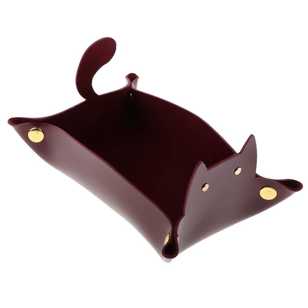 Perfeclan メイクボックス 小物収納トレイ PUレザー 丈夫 折りたたみ式 便利 全4色 - ワインレッド