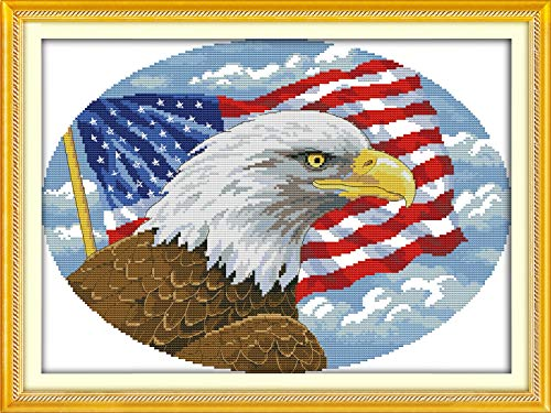"""Joy Sunday Cross Stitch Kits 11CT Stamped American Eagle 22""""x16.5"""" or 56cmx42cm Easy Patterns Embroidery for Girls Crafts DMC Cross-Stitch Supplies Needlework Animal Series"""