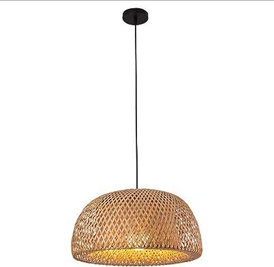 Style r/étro Lanterne Chambre Salon Lustre Plafond E27,3head HeartRain Lustre en rotin Lustre cr/éatif tiss/é /à la Main en rotin Lustre en Bambou tress/é