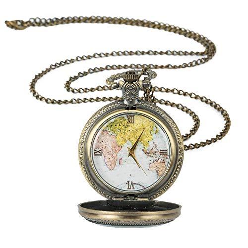 J-Love Reloj de Bolsillo con Colgante de Collar de Mapa de Cadena Antiguo Retro