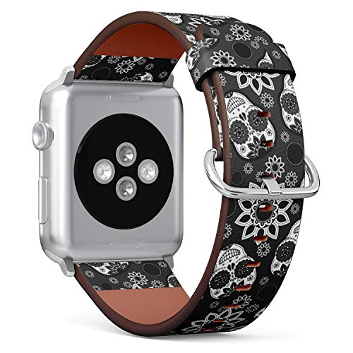 Compatible with Small Apple Watch 38mm & 40mm (All Series) Leather Watch Wrist Band Strap Bracelet with Stainless Steel Clasp and Adapters (Sugar Skull)