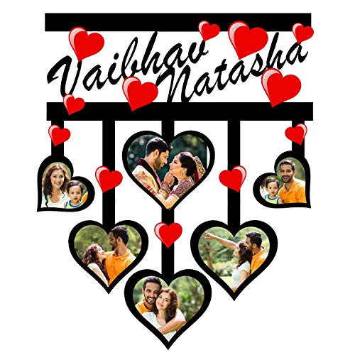 GiftsWale 6 Hearts Collage Photo Frame with Names for Couples, Friends, Husband-Wife, Brother, Sister and Parents for Marriage/Wedding Anniversary, Valentines Day, Karwa Chauth and Friendship Day