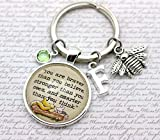 Winnie The Pooh, You Are Braver', Personalised Pooh Bear and Piglet Keyring, Bee Charm, Initial and Birthstone Crystal