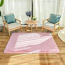 GaoTuo Alfombras Suaves de Terciopelo, alfombras Modernas y esponjosas, Lindas alfombras de Dormitorio peludas, adecuadas para su Uso como alfombras de Dormitorio(Rosa,80x120cm)
