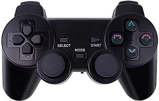 Aoityle 4wayワイヤレスコントローラー PS3 PS2 PS PC対応 日本語説明書付き, 2.4ghz 無線 ゲームパッド オートスリープ機能 1年保証(黒)