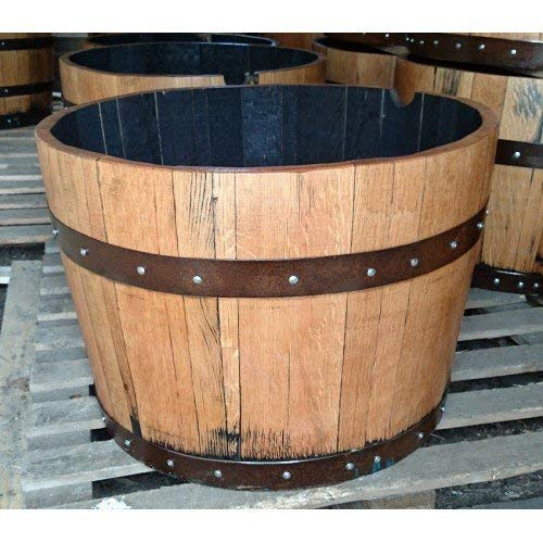 Photo of Cheeky Chicks Hand Crafted Solid Oak Wood Half Barrel Outdoor Garden Planter Refurbished/Sanded