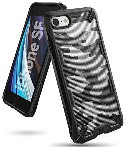 Ringke Fusion-X DDP Kompatibel mit iPhone SE 2020 Hülle, Kompatibel mit iPhone 8 Hülle, Kompatibel mit iPhone 7 Hülle, Militär Muster PC Rückseite mit Duo Handykette Löcher TPU Rahmen - Camo Black