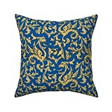 Roostery Throw Pillow, Gryphon Griffin Blue and Gold Mythology Medieval Scrollwork Dragons Print, Linen-Cotton Canvas, Knife Edge Accent Pillow 18in x 18in Optional Insert
